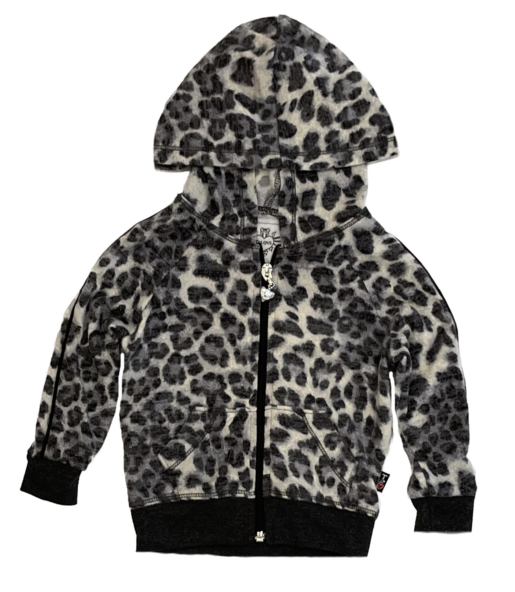 T2Love Grey Cheetah Zip Hoodie