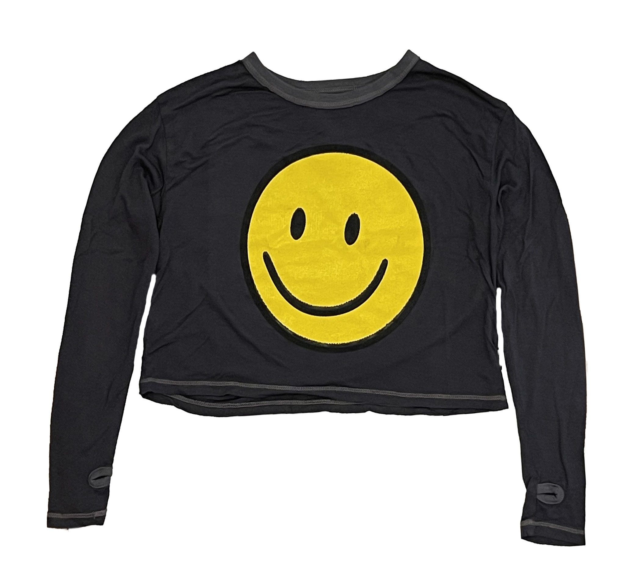 T2Love Charcoal Smiley Crop Top