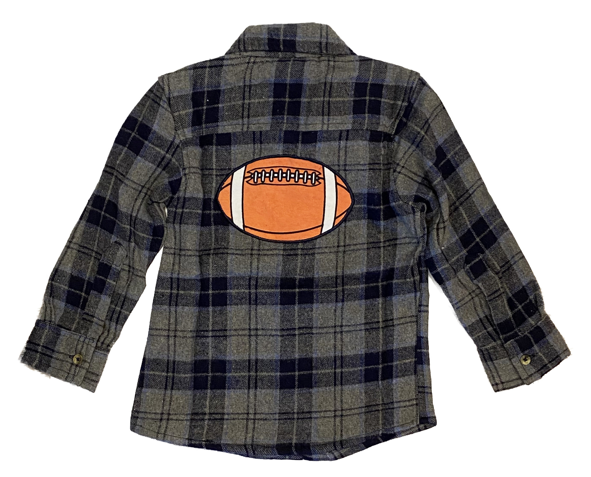 Mish Navy Plaid Football Infant Flannel Shirt