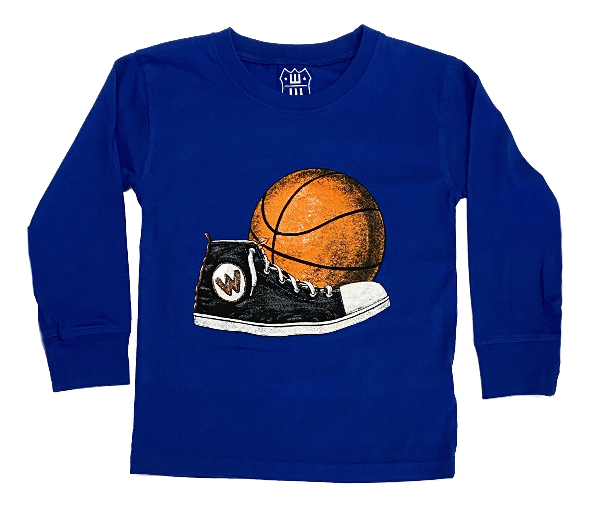 Wes and Willy Royal Blue Basketball Infant LS  Tee