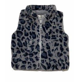 Grey/Blue Leopard Faux Fur Vest