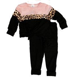 Little Mass Leopard Trim Knot Toddler Set