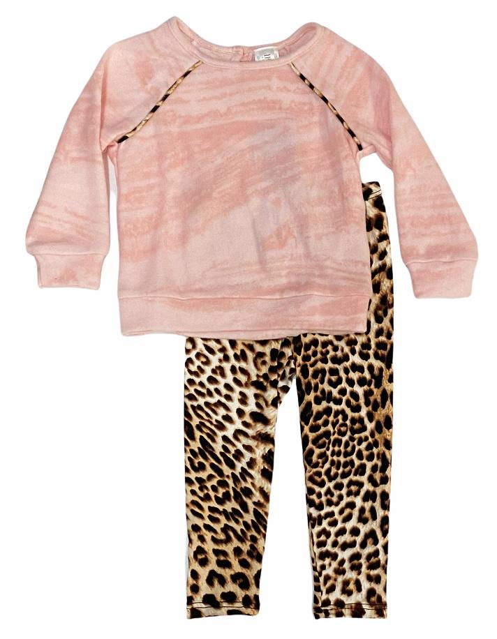 Little Mass Pink Brushed Leopard Toddler Set