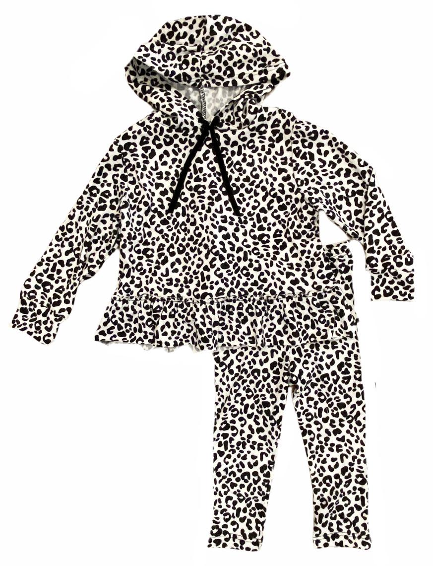 Little Mass Cheetah Ruffled Hoodie Set