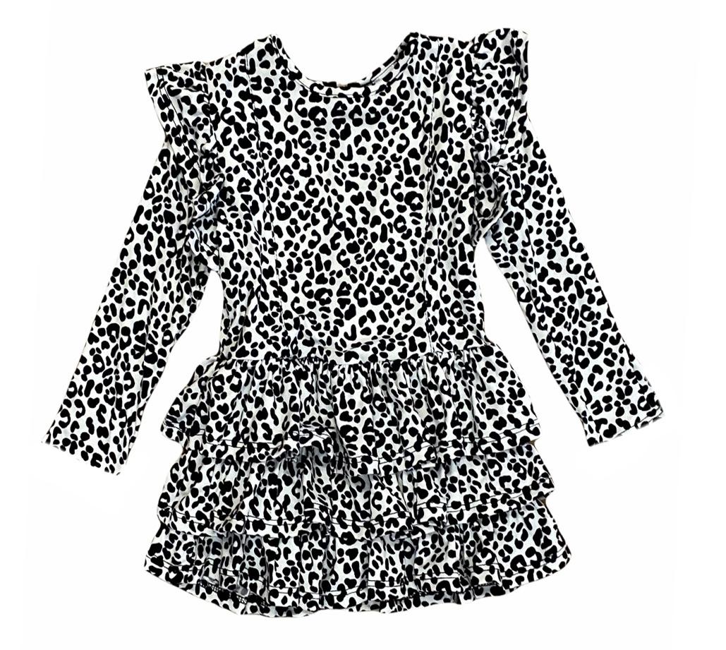 Little Mass Cheetah Ruffled Dress