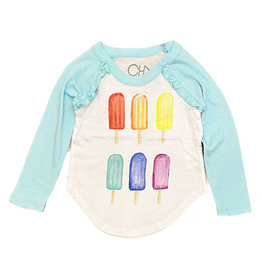 Chaser Popsicle Party Ruffle Raglan Top