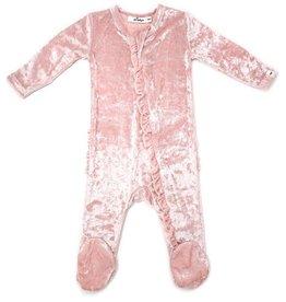 Oh Baby Pink Velvet Ruffled Footie