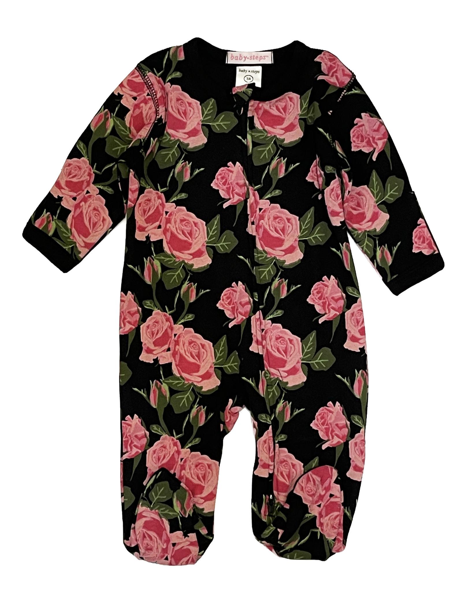 Baby Steps Black Roses Footie