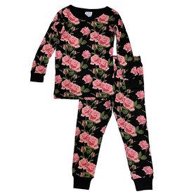 Baby Steps Black Roses PJ Set