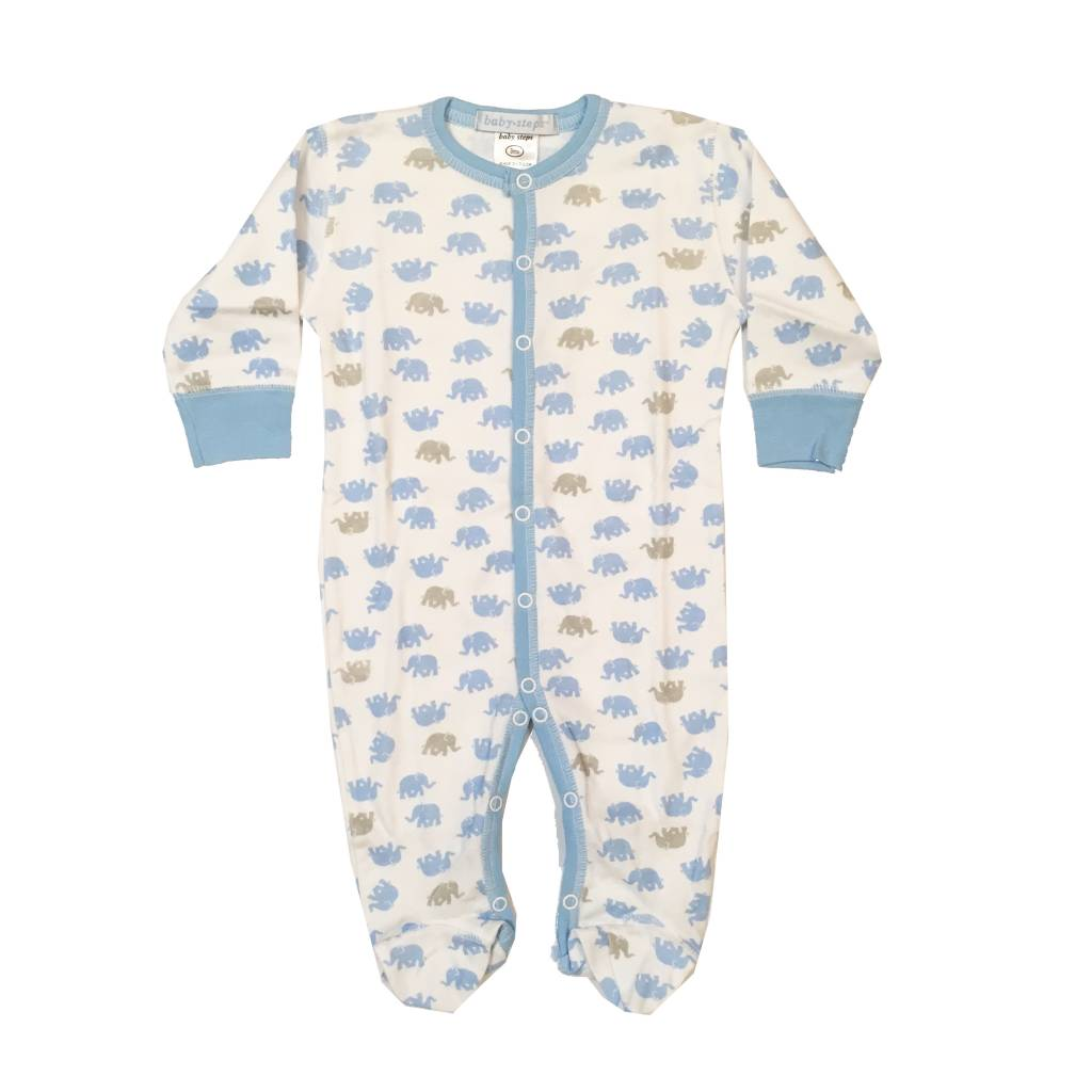 Baby Steps Blue Elephants Footie
