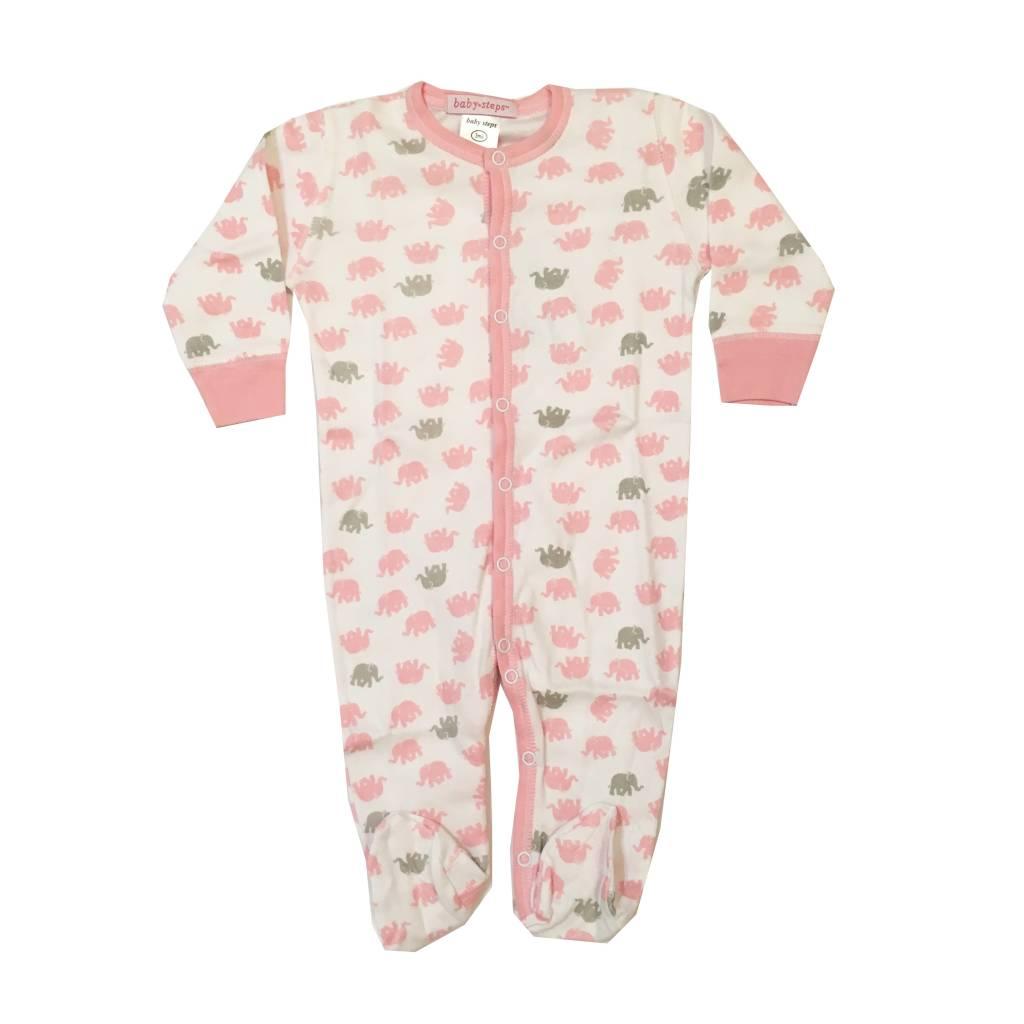 Baby Steps Pink Elephants Footie