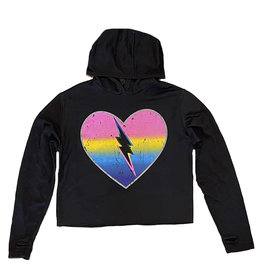 Firehouse Ombre Heart Bolt Black Hoodie