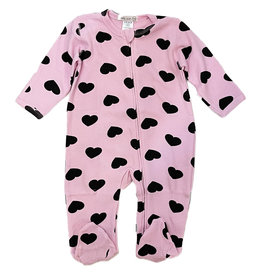 Little Mish Pink Black Heart Thermal Footie
