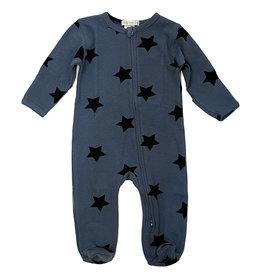 Little Mish Denim Black Star Thermal Footie