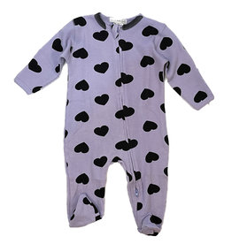Little Mish Lilac Black Heart Thermal Footie
