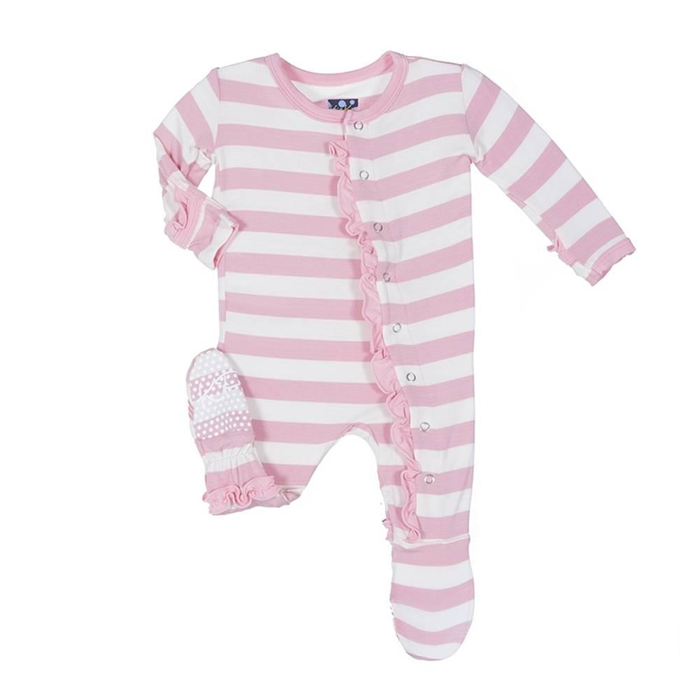 Kickee Pants Pink Stripe Ruffle Footie