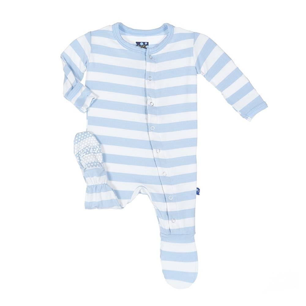 Kickee Pants Blue Stripe Footie