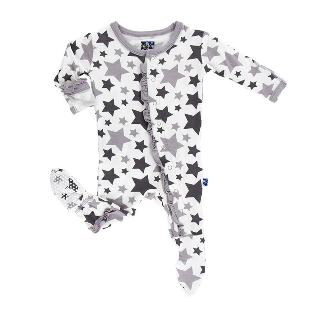 Kickee Pants Grey Stars Ruffle Footie