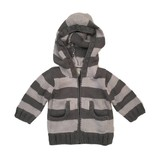 2 H Knits Grey Stripe Hooded Zip Sweater