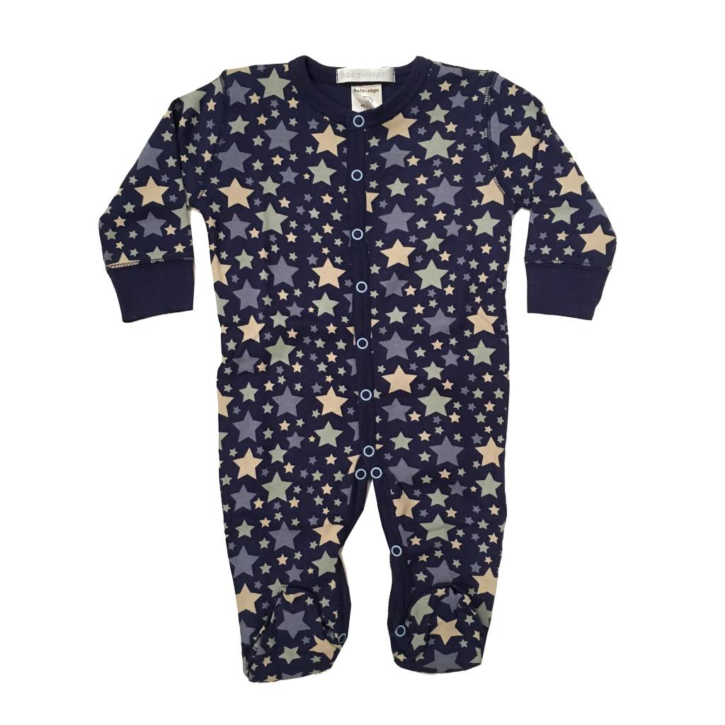 Baby Steps Navy Stars Footie