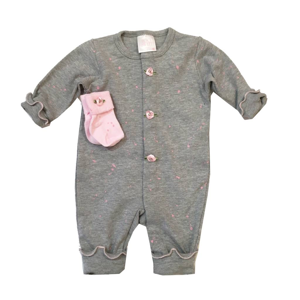 Too Sweet Grey / Pink Glitter Splatter Outfit