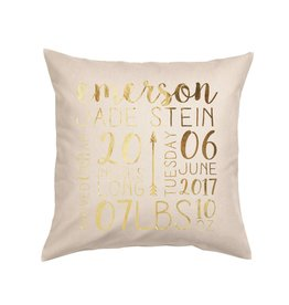 Custom Birth Announcement Pillow Natural