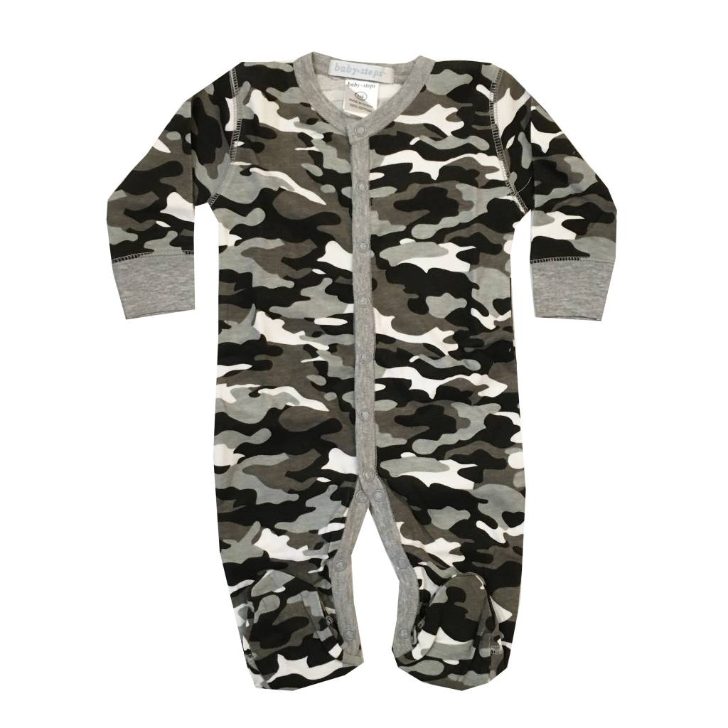 Baby Steps Black Camo Footie