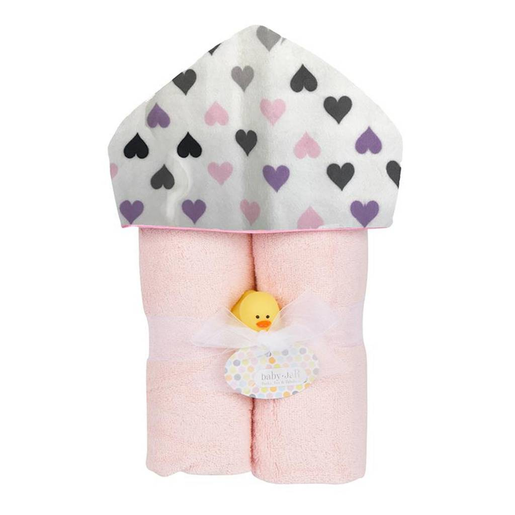 Baby Jar Chromatic Hearts Hooded Towel