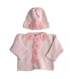 Gita Sheer Flower Sweater & Hat Set