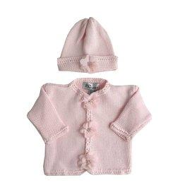 Gita Rhinestone Flower Sweater & Hat Set
