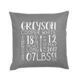Custom Birth Announcement Pillow Dark Grey