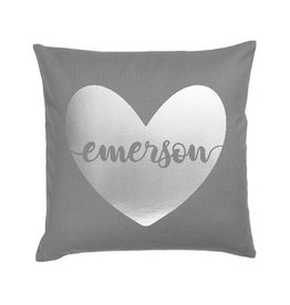 Dark Grey Heart Name Pillow