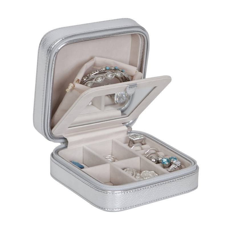 Small Silver Travel Jewelry Case