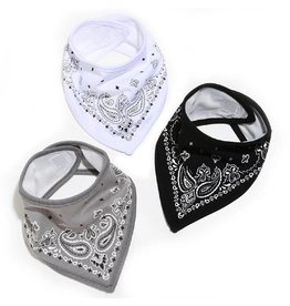Fctry Set of 3 Bandana Bibs Grey/Black/White