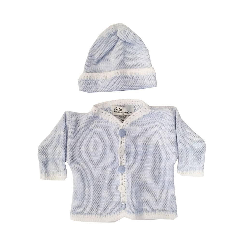 Gita Blue Heather Sweater with Hat