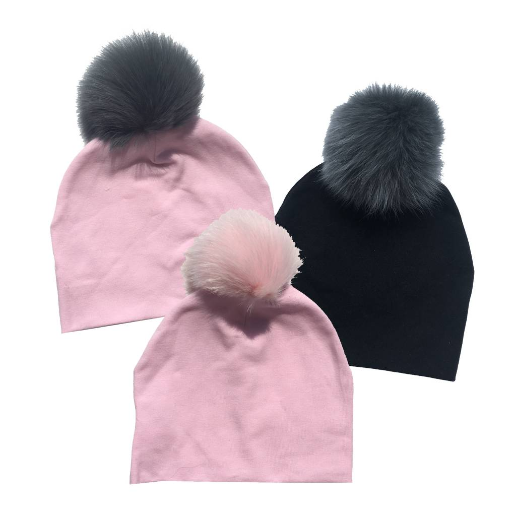 Bari Lynn Baby Cotton Pom Pom Hat (3 colors)