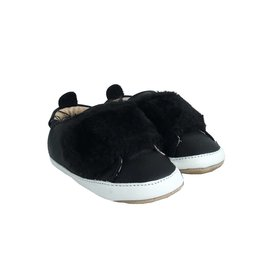 Old Soles Baby Black Fur Slip On Sneakers