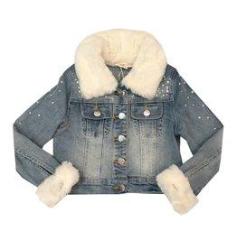 Baby Sara Embellished Faux Fur Denim Jacket