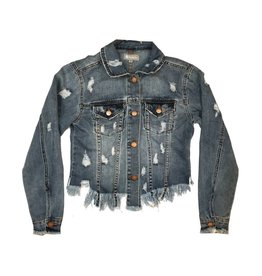 Tractr Distressed and Frayed Denim Jacket