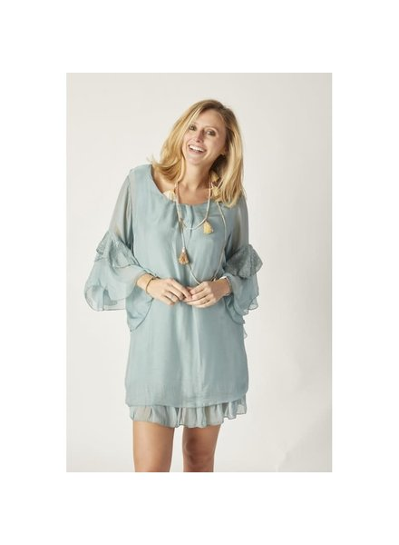 Bell Sleeve Silk Dress Tunic