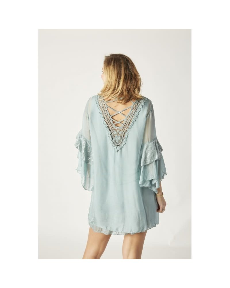 Silk Dress Bell Sleeve