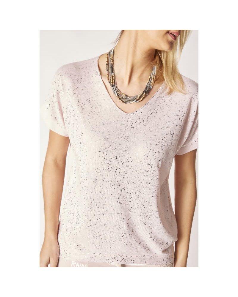 Silver Shimmer V-Neck Top