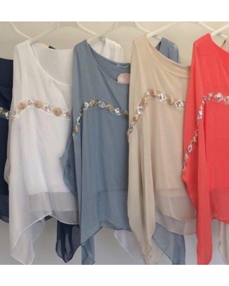 Sequin Stripe Silk Kimono