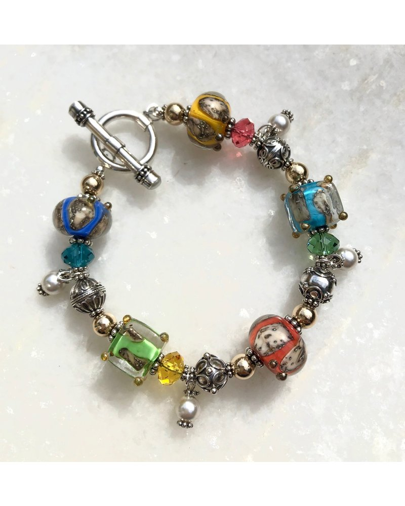 Out Of The Fire Coral Reef  5-Bead Lampglass Bracelet