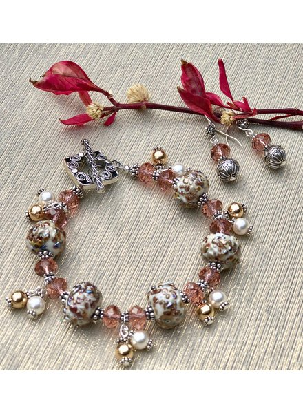 Out Of The Fire First Blush 5-Bead Lampglass Bracelet