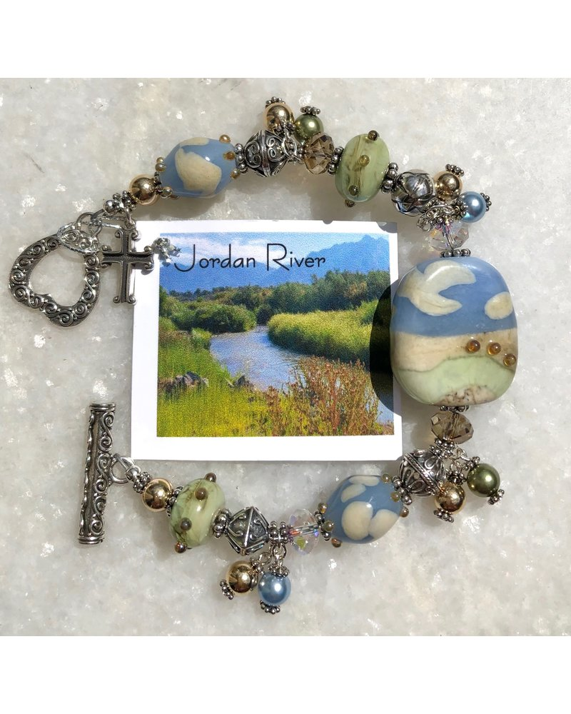Out Of The Fire Jordan River 5-Bead Lampglass Bracelet