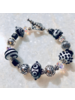 Out Of The Fire Black & White 5-Bead Lampglass Bracelet