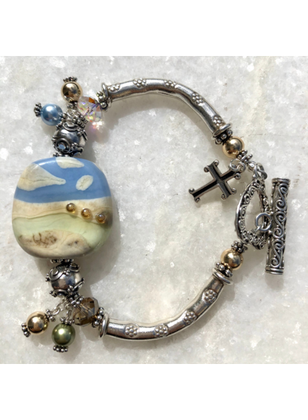 Out Of The Fire Jordan River Single Bead Lampglass Bracelet