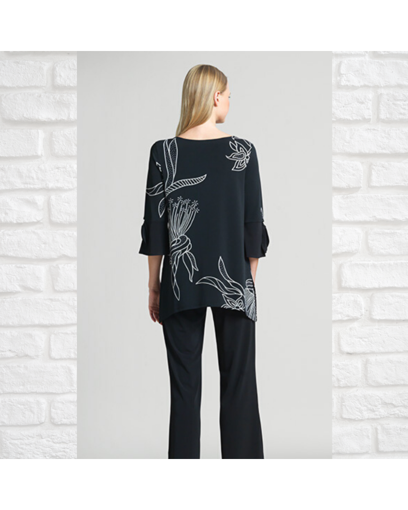 Graphic Bouquet Tunic with Tie-Sleeve