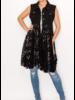 Black Denim Vest with Black Lace